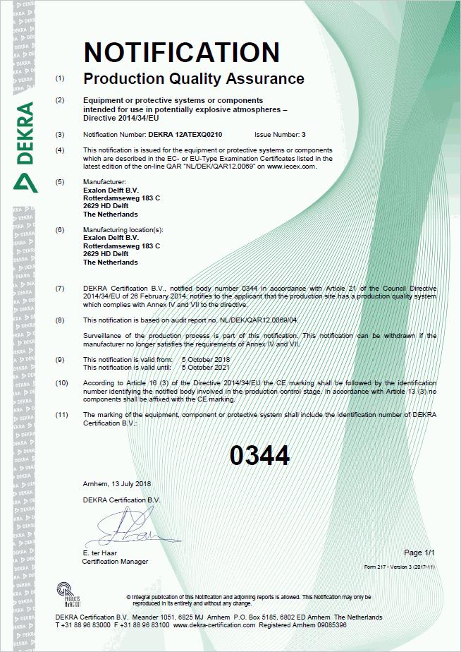 ATEX certificaat